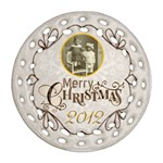 Merry Christmas 2012 double sided filigree ornament - Round Filigree Ornament (Two Sides)