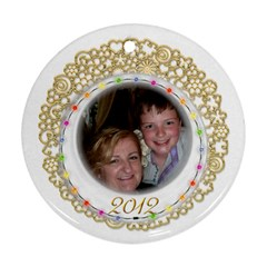 Gold Fillagree Festive Lights 2 Sided 2012 Ornament By Catvinnat   Round Ornament (two Sides)   3fowiqhc33sf   Www Artscow Com Front