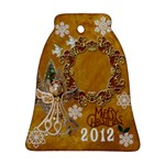 Gold Angel Merry Christmas 2012 Bell Ornament - Ornament (Bell)