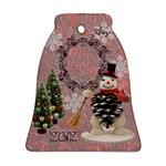 Vintage Snowman Bell Ornament - Ornament (Bell)