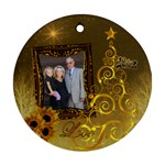 Gold Love sunflower round ornament - Ornament (Round)