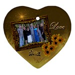 Gold Love Sunflower heart ornament - Ornament (Heart)
