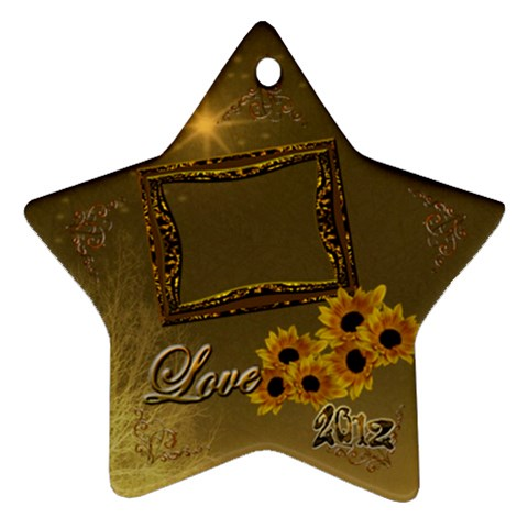 Gold Love Sunflower Star Ornament By Ellan   Ornament (star)   3uaxan3maqrg   Www Artscow Com Front