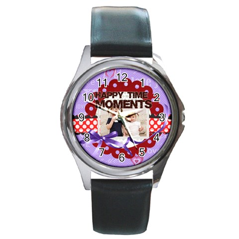 Happy Memonts By Joely   Round Metal Watch   Eaudwmyh8426   Www Artscow Com Front