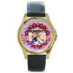 happy memonts - Round Gold Metal Watch