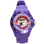 happy memonts - Round Plastic Sport Watch Large