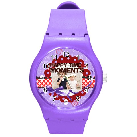 Happy Memonts By Joely   Round Plastic Sport Watch (m)   O55o5p9h26df   Www Artscow Com Front