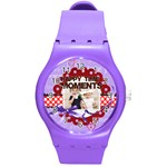 happy memonts - Round Plastic Sport Watch (M)