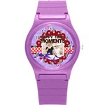 happy memonts - Round Plastic Sport Watch Small