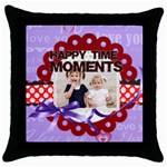happy memonts - Throw Pillow Case (Black)