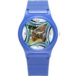 Blue and Silver Plastic Sport Watch Small - Round Plastic Sport Watch (S)