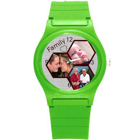 Family Round Plastic Sport Watch Small By Deborah   Round Plastic Sport Watch (s)   Zjyxwy3js2gs   Www Artscow Com Front