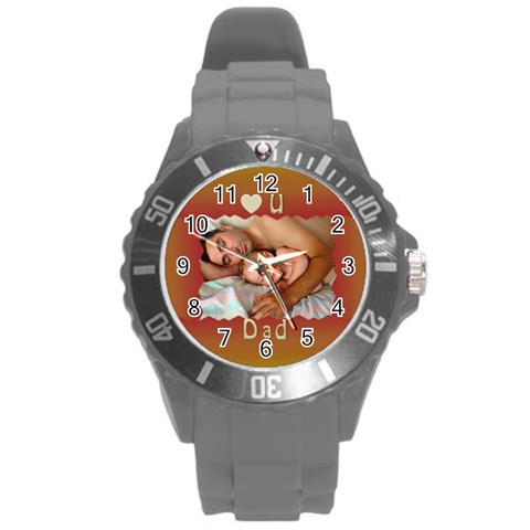 Love U Dad Plastic Sport Watch Large By Deborah   Round Plastic Sport Watch (l)   Fm8znxy0mc2k   Www Artscow Com Front