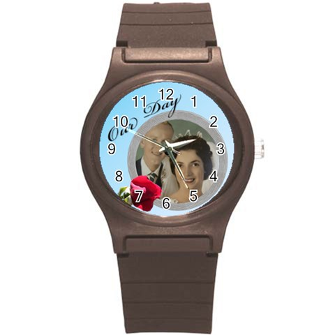 Our Day Round Plastic Sport Watch Small By Deborah   Round Plastic Sport Watch (s)   Xvqlp1tq9jq7   Www Artscow Com Front
