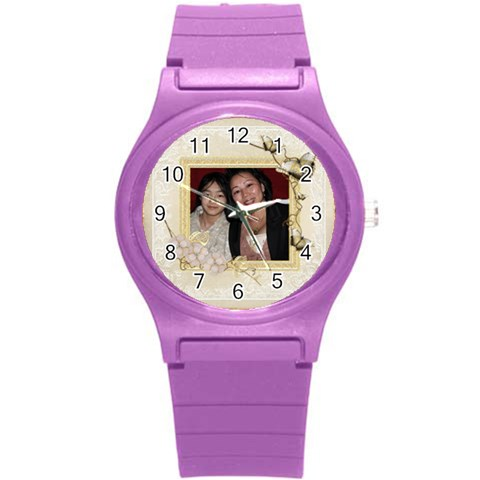 Butterfly Watch By Catvinnat   Round Plastic Sport Watch (s)   Ngpuzb1rs37o   Www Artscow Com Front