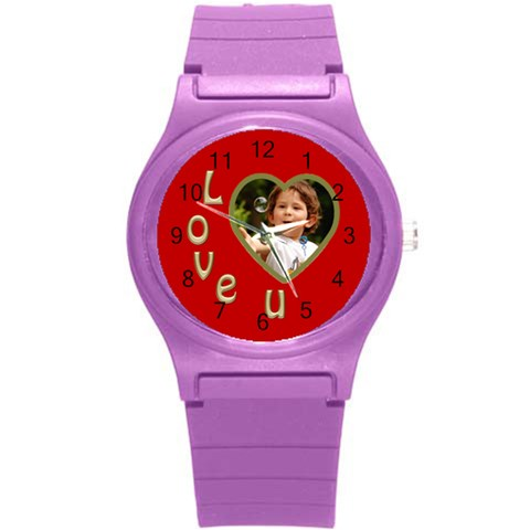 Love U Round Plastic Sport Watch Small By Deborah   Round Plastic Sport Watch (s)   2s6sag8xtloh   Www Artscow Com Front