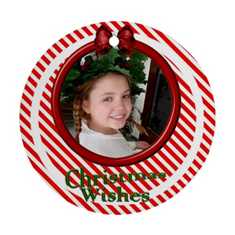 Candy Stripe Ornament By Deborah   Ornament (round)   Nzztsuuu5m02   Www Artscow Com Front