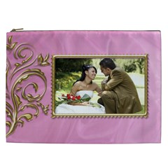 Pink And Gold Cosmetic Bag Xxl By Deborah   Cosmetic Bag (xxl)   U8fkdf9uma6i   Www Artscow Com Front