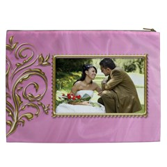 Pink And Gold Cosmetic Bag Xxl By Deborah   Cosmetic Bag (xxl)   U8fkdf9uma6i   Www Artscow Com Back