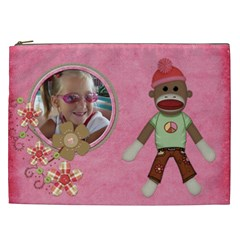 Sock Monkey Love Xxl Cosmetic Bag 1 By Lisa Minor   Cosmetic Bag (xxl)   Jnafg94a41ly   Www Artscow Com Front