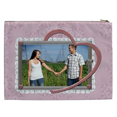 Pink Heart Xxl Cosmetic Bag By Lil    Cosmetic Bag (xxl)   Sqtrbgwz4pc1   Www Artscow Com Back