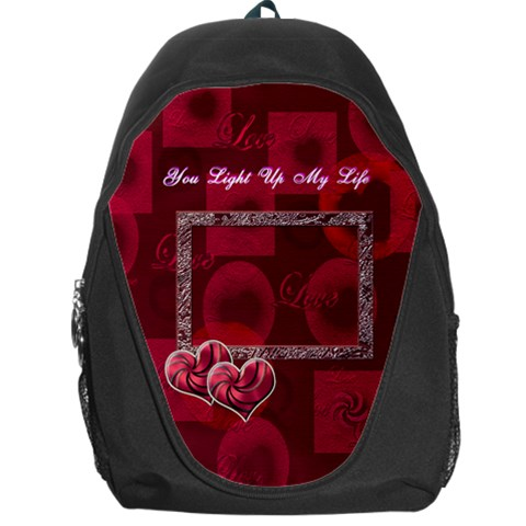 You Light Up My Life Pink Love Backpack By Ellan   Backpack Bag   Kmsnlalfe03c   Www Artscow Com Front