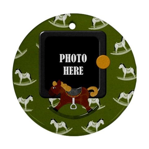 My Christmas Pony Ornament 2 By Lisa Minor   Ornament (round)   Nc3ewb8cxiov   Www Artscow Com Front