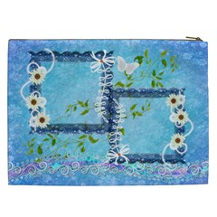 Spring Flower Floral Blue Cosmetic Case Xxl By Ellan   Cosmetic Bag (xxl)   Ne5b166qjqxw   Www Artscow Com Back