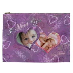 I Heart You Love Lavender Purple Cosmetic Case Xxl By Ellan   Cosmetic Bag (xxl)   C3b7ys904a4u   Www Artscow Com Front