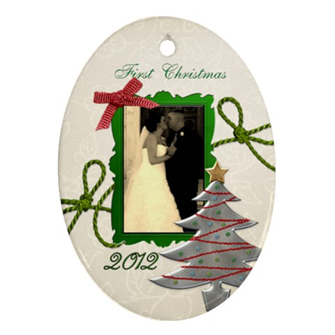 Sarah 1st Christmas By Loralie   Ornament (oval)   Vhy8idq8rhnb   Www Artscow Com Front