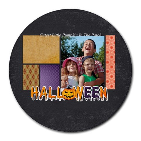 Halloween By Joely   Collage Round Mousepad   Th6ucg6j76vh   Www Artscow Com 8 x8 Round Mousepad - 1