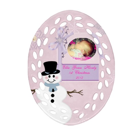 Ellie 1st Christmas By Loralie   Ornament (oval Filigree)   Pnfno7ckpnsv   Www Artscow Com Front