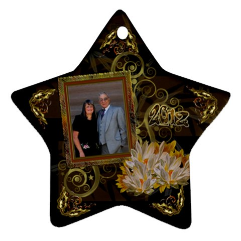 Star Vertical Gold Black Ornament By Ellan   Ornament (star)   Pz8k3yqbz2zj   Www Artscow Com Front