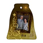 Gold Christmas Bell Ornament - Ornament (Bell)