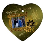 Christmas Gold Flower Heart Ornament - Ornament (Heart)