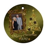 Gold Christmas round ornament - Ornament (Round)