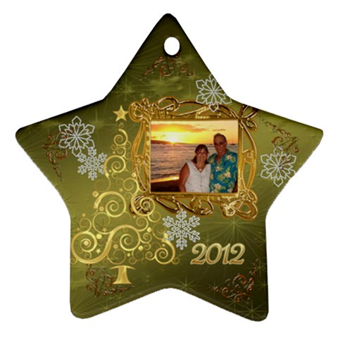 Gold 2012 Star Christmas Ornament By Ellan   Ornament (star)   15r48ga9g2eb   Www Artscow Com Front
