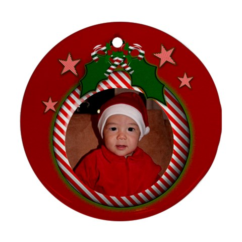 Red Candy Christmas Ornament By Deborah   Ornament (round)   2ud8zc5t0bd7   Www Artscow Com Front