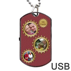 My Family  Dog Tag Usb Flash (2 Sided) By Deborah   Dog Tag Usb Flash (two Sides)   1by5frcckdus   Www Artscow Com Front