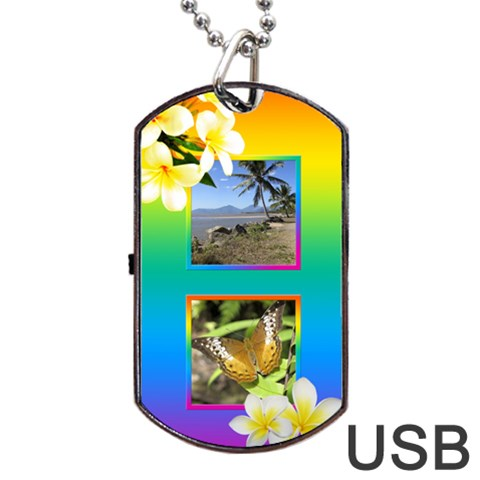 Tropical Dog Tag Usb Flash By Deborah   Dog Tag Usb Flash (one Side)   0pk513ihdvzm   Www Artscow Com Front