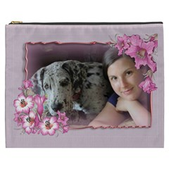 Pink Flower Cosmetic Bag (xxxl) By Deborah   Cosmetic Bag (xxxl)   Mf1nvy2hdht9   Www Artscow Com Front