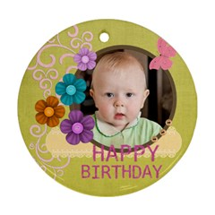 Happy Birthday By Jacob   Round Ornament (two Sides)   T1z93nf2jbxg   Www Artscow Com Front