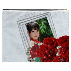 Framed With Roses Cosmetic Bag (xxxl) By Deborah   Cosmetic Bag (xxxl)   59f7ybxi982v   Www Artscow Com Back