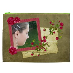 Shabby Rose Cosmetic Bag (xxl)  By Picklestar Scraps Front