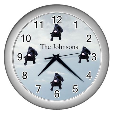 Pug Clock By Kim Blair   Wall Clock (silver)   Reof8n9ii53x   Www Artscow Com Front