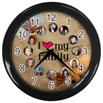 I love my family Beach wall  Clock - Wall Clock (Black)