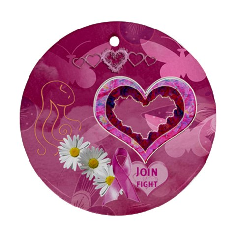 Breast Cancer Awareness Round Ornament By Ellan   Ornament (round)   Hcgn05ifgfg1   Www Artscow Com Front