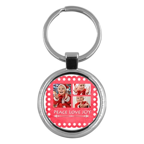 Merry Christmas By Man   Key Chain (round)   Zcqtp664v3fa   Www Artscow Com Front