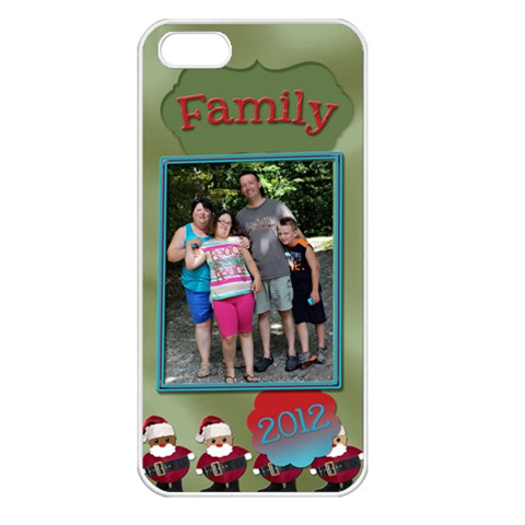 Christmas Family Case  By Patricia W   Apple Iphone 5 Seamless Case (white)   Rgx8zwr3jzlu   Www Artscow Com Front