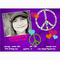 Peace & Love Birthday Invitation By Lana Laflen   5  X 7  Photo Cards   Tl7mcforfczt   Www Artscow Com 7 x5 Photo Card - 2